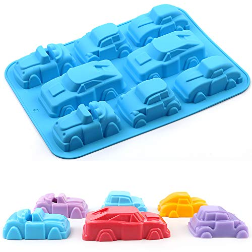 AILEHOPY Silicone Mold Baking Mold 1 Pack8 Cavity Pure Silicone 3D Car Shape Non-stick Pure Silicone Soap Mold For Make Cake Soap Jelly Pudding Chocolate Baking