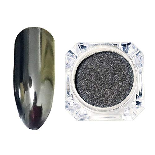 SSGLOVELIN 1 Bouteille Black Mirror Effect Nail Paillettes poussière Chrome Pigment Brillant Manucure Nail Art Décoration Flakes Beau (Color : Black)