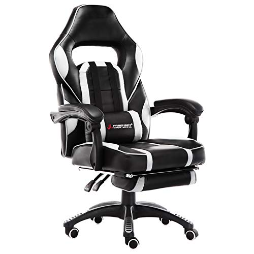 JL Comfurni Gaming Leather Chair Home Office Swivel Executive Computer Desk Chair Height Adjustable Ergonomic Recliner with Lumbar Cushion and Padded Footrest (White)