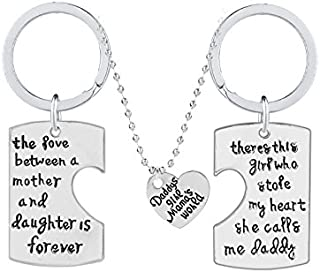 3pcs Daddy's Girl Mama's World The Love Between Mother and Daughter is Forever Mother Mom Father Daddy Necklace Pendant Set Dad Mom Christmas Birthday Gift