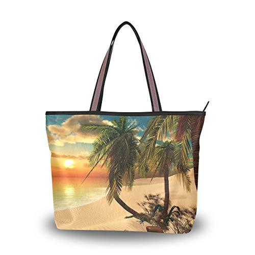 HMZXZ RXYY Tropisch Beach Palm Baums Sonnenuntergang Handtaschen und Geldbörse für Frau Tote Tasche groß Kapazität obenGriff Käufer Schulter Tasche