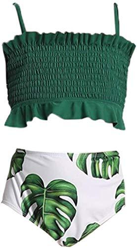 Flashing boy Toddler Kids Girls Two Piece Swimsuit Ruffles Bikini Set Swimwear Beach Sport Halter Top Diving Surfing Clothes (Green-Suspenders, 10-12Y)