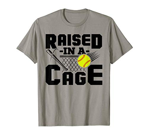 Raised In A Cage Funny Softball Player T-Shirt