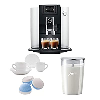 Jura 15070 E6 Automatic Coffee Center, Platinum Includes Glass Milk Container, Cleaning Tablets and 2 Espresso Cups Bundle