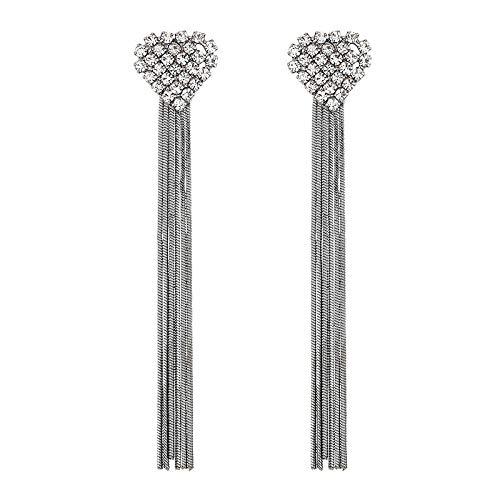 Pendientes en forma de corazón de moda coreana, borlas largas, pendientes de diamantes de imitación nupciales exagerados, pendientes de diamantes simples, pistola negra