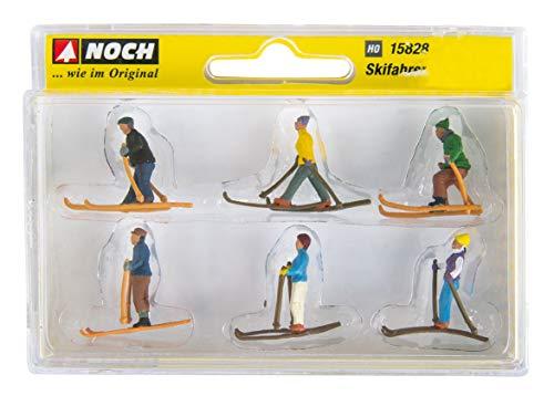 Rayher 46456000 Kunststoff-Miniaturen Skifahrer, ca. 2cm, Set 6 Stück, für Mini-Winterdekorationen