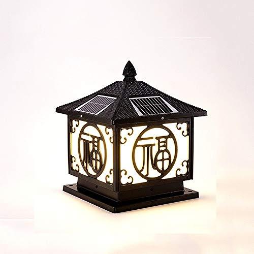 KMYX Place Porche LED solaire Lampe de table Outdoor Blue Lantern panneau solaire Super Strong IP55 étanche Noté Extérieur Cour lampe porte lampe colonne (Color : Noir)