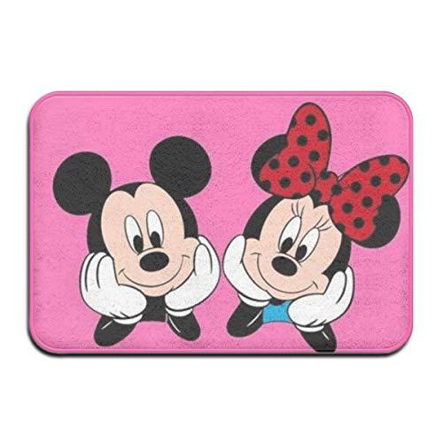 NA Felpudo para Interior/Exterior Mickey Mouse y Minnie Alfombrillas traseras de Goma Antideslizantes Alfombras de Regalo para la Entrada