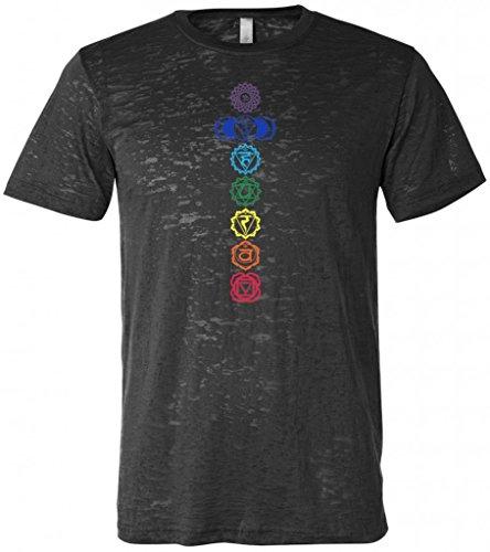 Yoga Clothing For You Mens Colored Chakras Burnout Tee Shirt, XL Black