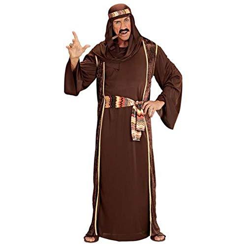 Widmann 10203 10203-Kostüm Arabischer Scheich, Braun, Robe, lange Weste, Gürtel und Kopftuch, Sultan, Araber, für Karneval, Mottoparty, Herren, L
