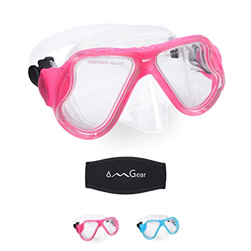OMGear Swim Goggles with Nose Cover Kid Diving Mask Snorkeling Mask Dive Goggoles Silicone Swim Glasses Scuba Free Diving Spearfishing Neoprene Strap Cover Impact Resistance(Light Pink)
