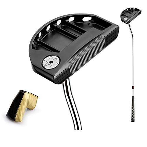 KXDLR Golfclubs golfputter 34-inch stalen as met golf headset, zwart