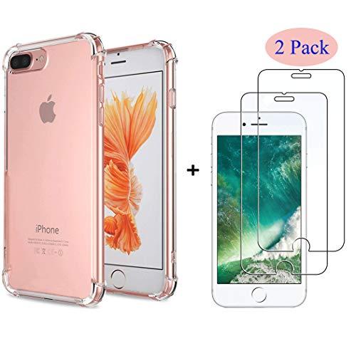 Alexcase iPhone 8 Plus Hülle, iPhone 7 Plus case [+2 Stück Panzerglas] Durchsichtig Soft TPU Silikon mit Stoßfest Fallschutz Bumper Kratzfest Handyhülle Case für iPhone 7Plus /8Plus 5.5