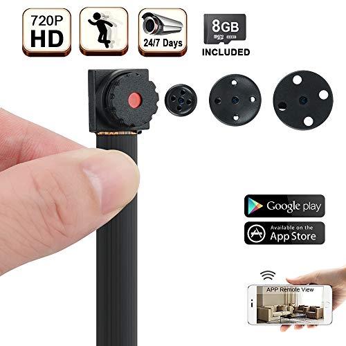 720P HD Mini WiFi Oculto Niñera Cámara - Videocámara Estenopeica Botón Soporte Vista Remota de Teléfono Inteligente, 24/7 Días de Grabación, Tarjeta de Memoria de 16GB Incorporada