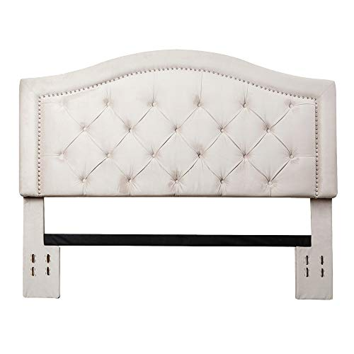 Abbyson Living Full/Queen Upholstery Tufted Velvet Headboard with Silver Finish Nailhead Trim, Ivory