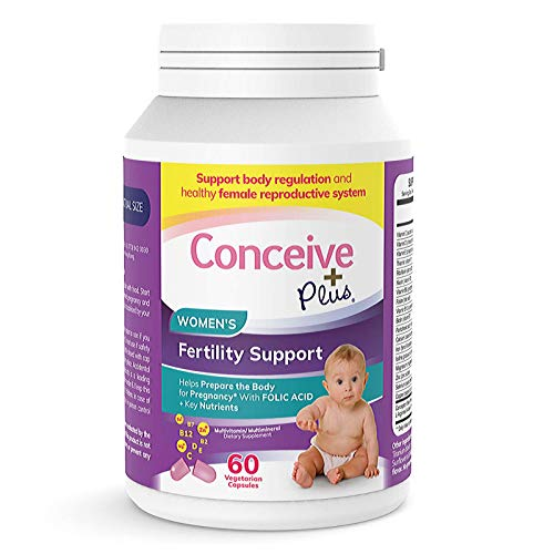 Conceive Plus Women's Fertility Vitamins + Key Nutrients – Support Body Regulation, Healthy Cycles, Aid Natural Conception – Folate Folic Acid, Pills – 60 Vegetarian Soft Capsules