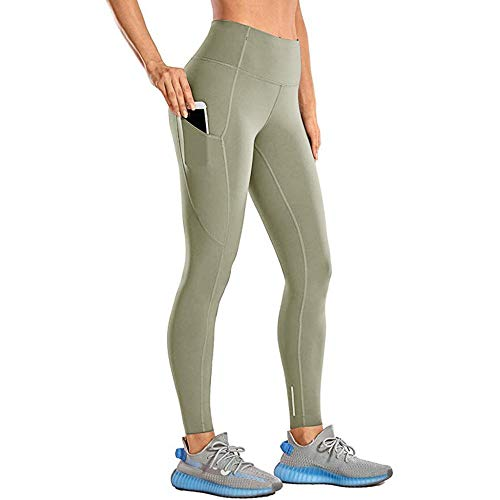 Zachte ondoorzichtige yoga-stretchbroek,hoge taille en strakke fitness-yogabroek,nude verborgen legging,naadloze legging -Green_M,lange yoga-broek met stretch-fitnessbroek