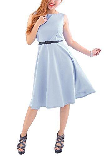 YMING Damen Partykleid Rockabilly Vintage Kleid Einfärbig Cocktailkleid Ärmellos Sommerkleid Grau L/DE 40-42