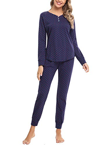 Hawiton Pijamas Mujer Invierno Manga Larga Conjunto de Pijama para Mujer Algodón Pantalones Largo Ropa de Casa 2 Piezas, Azul Oscuro, L