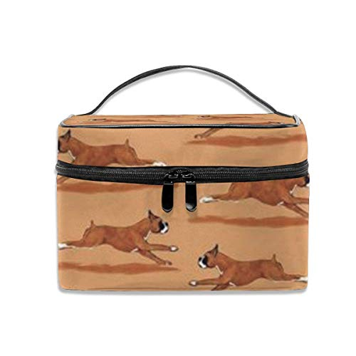 Running Boxer Dog Travel Cosmetic Case Organizer Portable Artist Storage Bag, Multifunction Case Toiletry Bags