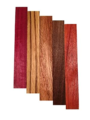 Pen Blank Variety Pack - Purple Heart, Zebrawood, Sapele, Walnut, Padauk