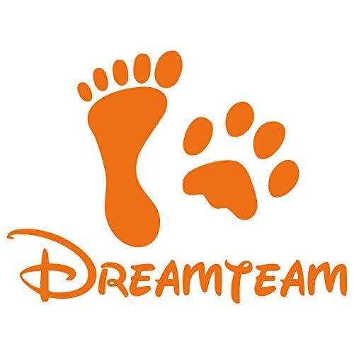 kleb-Drauf | 1 Dreamteam | Orange - glänzend | Autoaufkleber Autosticker Decal Aufkleber Sticker | Auto Car Motorrad Fahrrad Roller Bike | Deko Tuning Stickerbomb Styling Wrapping