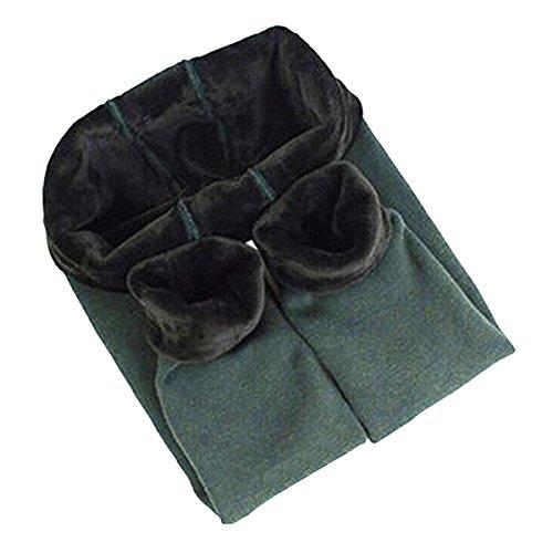 Yodensity - Leggings invernali da bambina, elasticizzati, caldi e spessi, per 4-12 anni verde scuro