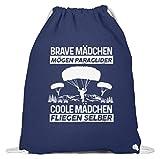 shirt-o-magic Gleitschirmfliegen: Coole Mädchen fliegen selber - Baumwoll Gymsac -37cm-46cm-Marineblau