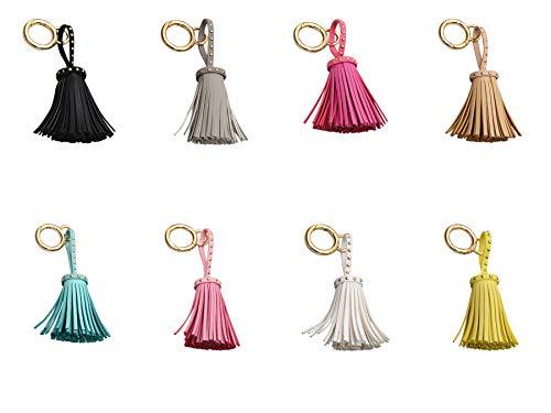 trendfuxx® - Leder Quaste mit Nieten, Anhänger für die Handtasche, Schlüsselanhänger - schwarz