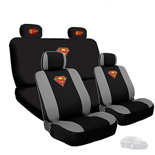 Yupbizauto Ultimate Superman Car Seat Covers Bundled with Classic BAM! Logo Headrest Covers Gift Set
