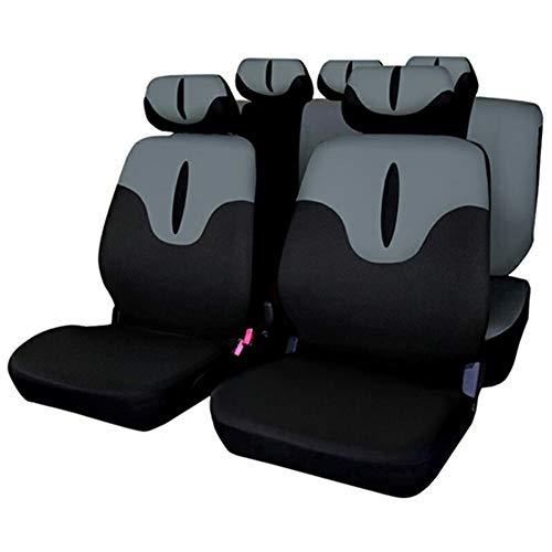 XY COOL Set Completo di Coprisedili per Auto Macchina Seat Cover Universali Protezione per Sedile di Poliestere - Set Completo di 9 (Grigio)