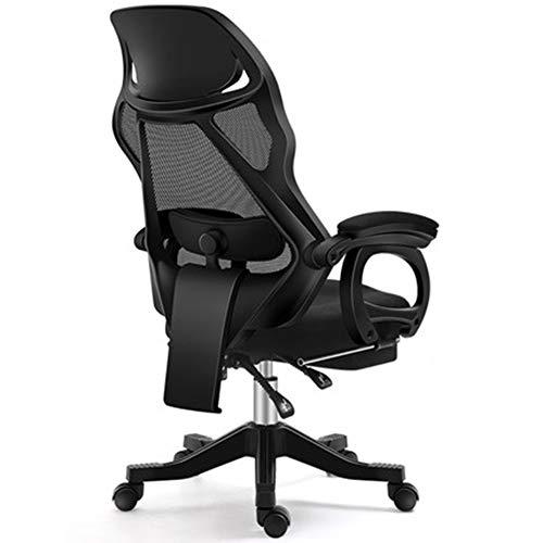 MIAO. Ergonomischer Computerstuhl Home Office Chair Boss Stuhl Swivelstuhl Personal Stuhl Chair Gaming Upgrade Abschnitt Plus Fußstütze, Latex,Black Frame Black net