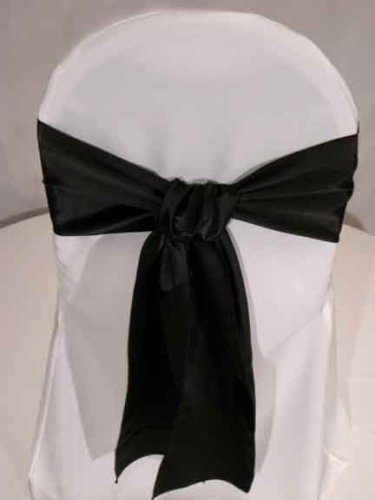 Black Satin Wedding Chair Sash Bows (set of 10) by Summerfield