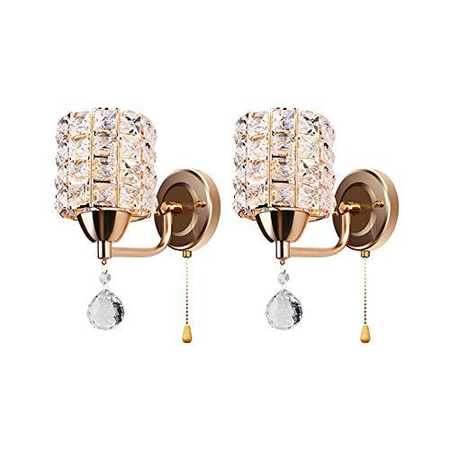 Lámpara de pared moderna de cilindro de cristal con interruptor de tracción, lámpara de pared de acero retro nórdica para pasillo de la sala de estar junto a la cama, enchufe E14 (dorado, 1 paquete)