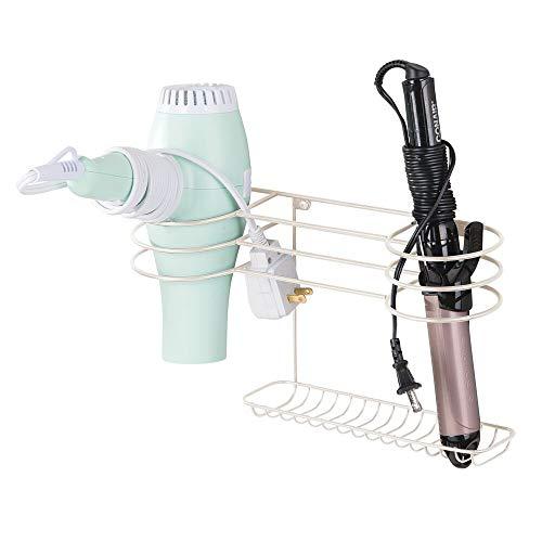 mDesign Soporte para secador de Pelo para Fijar en la Pared – Estante de baño para Guardar secador, rizador y Plancha de Pelo – Práctico Organizador de Pared en Metal – Crema