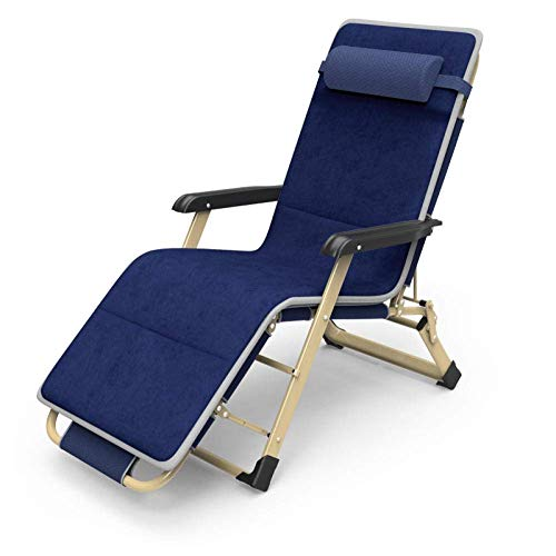 BABYCOW Reclining Lounger Recliners Folding Zero Gravity Chairs, Folding Sun Lounger, Sunbed With Mattress, Movable Headrest, Breathable, Comfortable, Reclining Load 160 Kg-Navy + Plush Cotton Pad