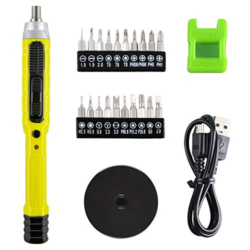 CACOOP Cordless 4V Precision Screwdriver Electric Pen Screwdriver With Magnetizer, LED light, 1/8'Bits Set, USB Charge Cable, Repair Tools For PC, Electronics, Smartphone and Model Airplane