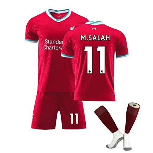 ZGDGG Men's Liverpool Jerseys F.C.2020-21 Home Jersey Summer Loose Breathable Football Fans,M.Salah 11,XS