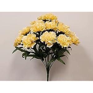 Yellow Carnation Bush Artificial Silk Flowers 18″ Bouquet 14-6996 YL