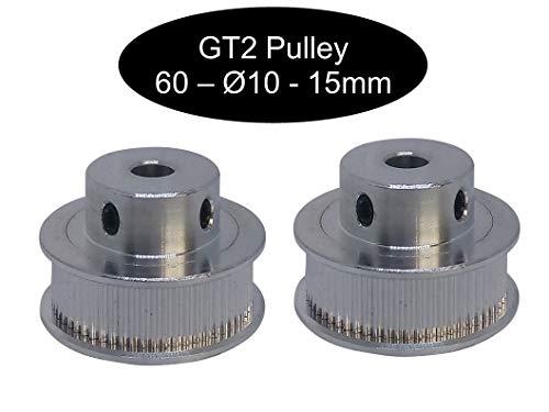 2 X GT2 con 15 mm larghezza 12, 16, 18, 20, 24, 26, 28, 30, 32, 36 o 40 denti puleggia a seconda della larghezza a scelta, 60Zahn Ø10mm, 1