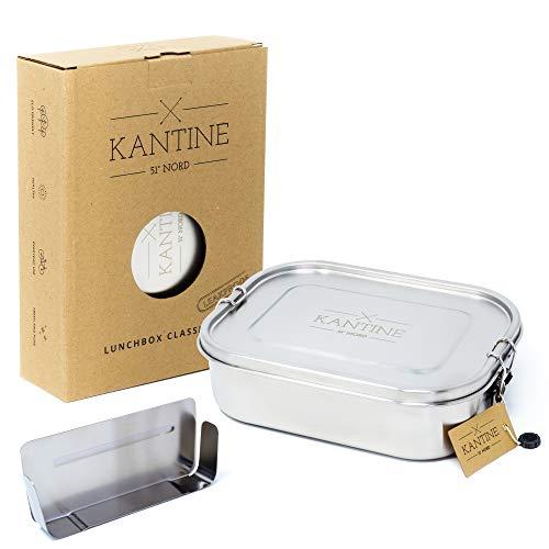 Kantine 51° Nord ® Lunchbox Classic XL | Auslaufsichere 1400ml Edelstahl Brotdose mit 2 Fächern durch Flexible Trennwand