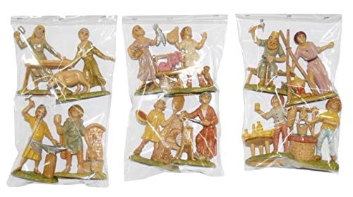 euromarchi Personaggi Pastori Doppi, 4 Pezzi, 9 cm, Multicolore