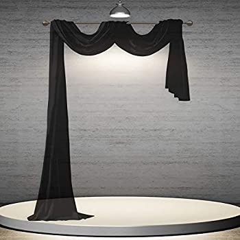 DONREN Jet Black Window Scarf for Outdoor Decoration - Add Luxury Beautiful Elegant Effect to Curtain Panels  1 Panel 52 x 216 Inches Long