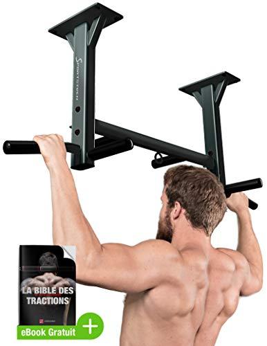 Sportstech Barre de Traction Fixation Plafond KS400 Musculation Fitness 3 Anneaux pour TRX,...
