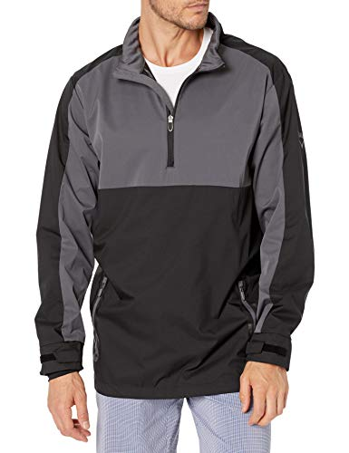 Callaway Herren 1/4 Zip Color Block Long Sleeve Golf Wind Jacket Windjacke, Caviar, XL (Hoch)
