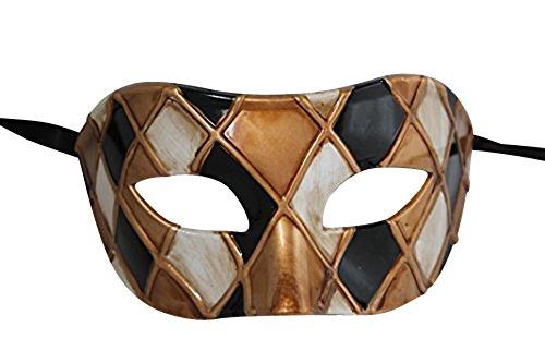 Das Gute Leben Harlekin Schwarz und Antik Gold/Elfenbein Venezianische Maskerade Karneval Partei Augenmaske Maske
