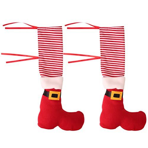 Nuobesty - Juego de 4 fundas para calcetines navideños