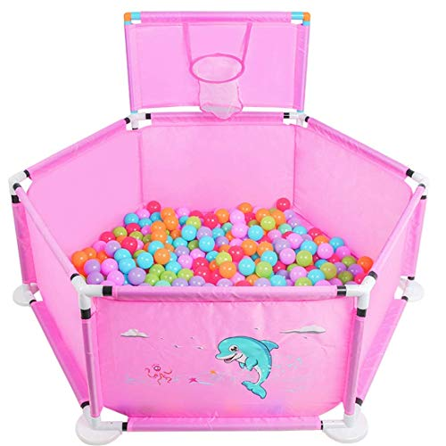 playpens for toddlers,119cm Baby Playpens with Basket Tents Infant Playyard Safety Household Protective Fence Hexagon House Play Yard Travel/Indoor - Pink