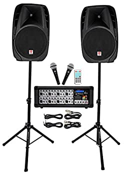 Rockville Package PA System Mixer/Amp+ 15 inch Speakers+Stands+Mics+Bluetooth 15   RPG2X15