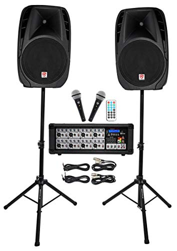 """Rockville Package PA System Mixer/Amp+ 15 inch Speakers+Stands+Mics+Bluetooth, 15"""" (RPG2X15)"""